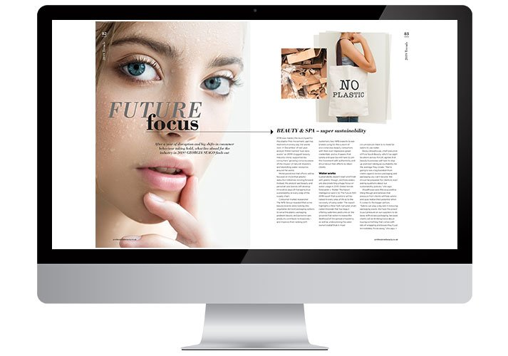 Professional Beauty magazine spread on a screen in a computer screen
