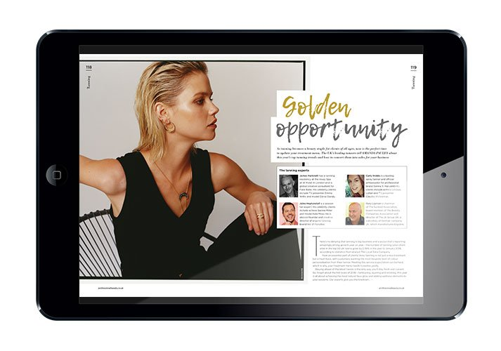 Professional Beauty Magazine spread in ipad