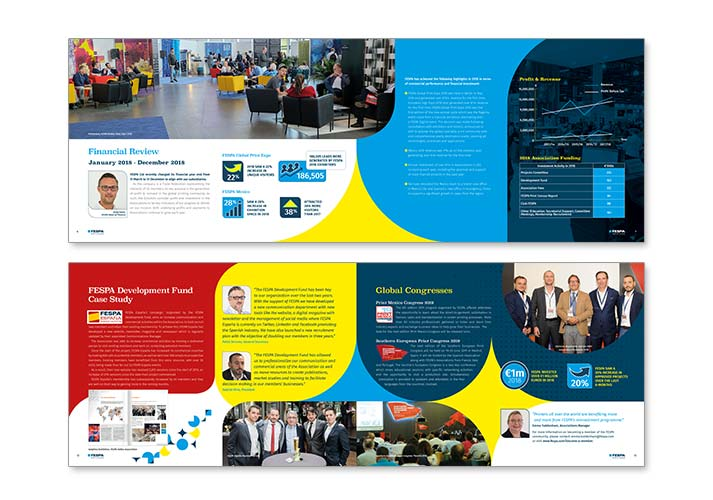FESPA Annual Report brochure spreads